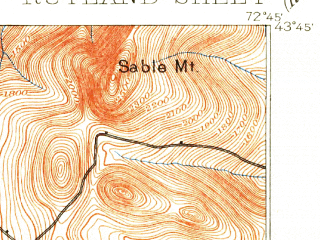 Reduced fragment of topographic map en--usgs--063k--061866--(1891)--N043-45_W073-00--N043-30_W072-45 in area of Chittenden Reservoir; towns and cities Rutland