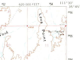 Reduced fragment of topographic map en--usgs--063k--061873--(1962)--N035-45_W111-45--N035-30_W111-30