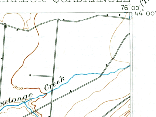 Reduced fragment of topographic map en--usgs--063k--061880--(1893)--N044-00_W076-15--N043-45_W076-00; towns and cities Adams, Sackets Harbor