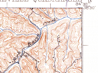 Reduced fragment of topographic map en--usgs--063k--061888--(1939)--N038-30_W084-45--N038-15_W084-30; towns and cities Sadieville, Stamping Ground, Corinth