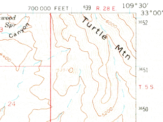 Reduced fragment of topographic map en--usgs--063k--061889--(1960)--N033-00_W109-45--N032-45_W109-30; towns and cities Safford