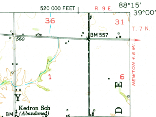 Reduced fragment of topographic map en--usgs--063k--061913--(1953)--N039-00_W088-30--N038-45_W088-15 in area of Newton Lake; towns and cities Sailor Springs