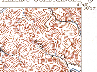 Reduced fragment of topographic map en--usgs--063k--061914--(1909)--N038-30_W082-00--N038-15_W081-45; towns and cities St. Albans, Cross Lanes, Teays Valley, Nitro, Poca