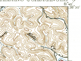 Reduced fragment of topographic map en--usgs--063k--061914--(1933)--N038-30_W082-00--N038-15_W081-45; towns and cities Cross Lanes, St. Albans, Nitro, Teays Valley, Alum Creek