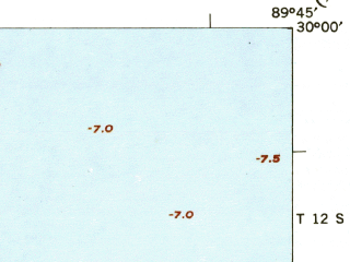 Reduced fragment of topographic map en--usgs--063k--061918--(1942)--N030-00_W090-00--N029-45_W089-45 in area of Lake Lery, Big Mar; towns and cities Chalmette, Violet, Meraux, Arabi, Poydras