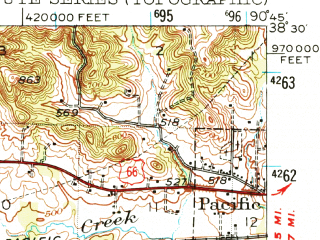 Reduced fragment of topographic map en--usgs--063k--061922--(1947)--N038-30_W091-00--N038-15_W090-45; towns and cities Gray Summit, Pacific, Parkway