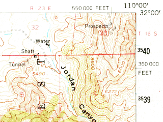 Reduced fragment of topographic map en--usgs--063k--061925--(1958)--N032-00_W110-15--N031-45_W110-00; towns and cities St. David