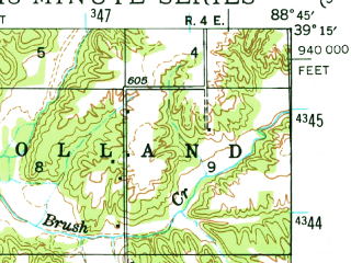 Reduced fragment of topographic map en--usgs--063k--061927--(1941)--N039-15_W089-00--N039-00_W088-45; towns and cities Beecher City, Cowden, Herrick