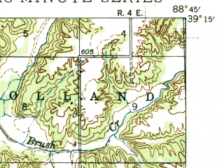Reduced fragment of topographic map en--usgs--063k--061927--(1945)--N039-15_W089-00--N039-00_W088-45; towns and cities Beecher City, Cowden, Herrick
