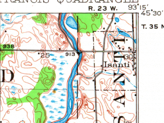 Reduced fragment of topographic map en--usgs--063k--061930--(1916)--N045-30_W093-30--N045-15_W093-15; towns and cities Andover, Ramsey, Bethel, Isanti, St. Francis