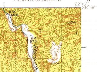 Reduced fragment of topographic map en--usgs--063k--061936--(1942)--N038-45_W122-30--N038-30_W122-15; towns and cities Angwin, Deer Park, St. Helena