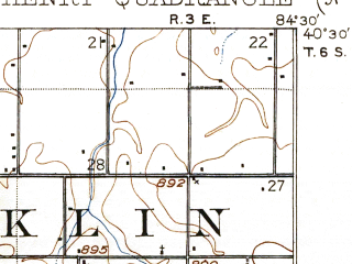 Reduced fragment of topographic map en--usgs--063k--061939--(1908)--N040-30_W084-45--N040-15_W084-30; towns and cities Burkettsville, Coldwater, Montezuma