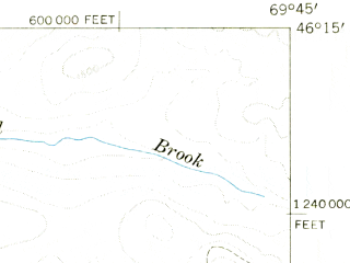 Reduced fragment of topographic map en--usgs--063k--061944--(1954)--N046-15_W070-00--N046-00_W069-45 in area of Fifth Saint-john Pond
