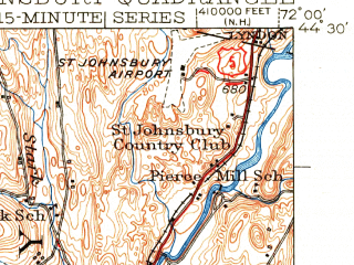 Reduced fragment of topographic map en--usgs--063k--061945--(1943)--N044-30_W072-15--N044-15_W072-00; towns and cities St. Johnsbury
