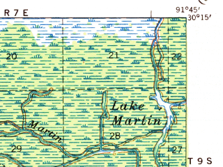 Reduced fragment of topographic map en--usgs--063k--061954--(1939)--N030-15_W092-00--N030-00_W091-45; towns and cities New Iberia, St. Martinville, Broussard, Parks, Youngsville