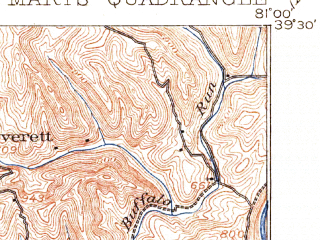 Reduced fragment of topographic map en--usgs--063k--061956--(1906)--N039-30_W081-15--N039-15_W081-00; towns and cities Ellenboro, St. Marys