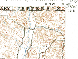 Reduced fragment of topographic map en--usgs--063k--061981--(1900)--N038-15_W087-00--N038-00_W086-45; towns and cities Santa Claus, Dale, Ferdinand