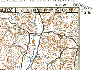 Reduced fragment of topographic map en--usgs--063k--061981--(1903)--N038-15_W087-00--N038-00_W086-45; towns and cities Santa Claus, Dale, Ferdinand