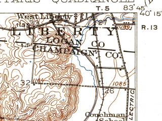 Reduced fragment of topographic map en--usgs--063k--062005--(1916)--N040-15_W084-00--N040-00_W083-45; towns and cities Urbana, St. Paris, Tremont City