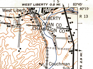 Reduced fragment of topographic map en--usgs--063k--062005--(1944)--N040-15_W084-00--N040-00_W083-45; towns and cities Urbana, St. Paris, Tremont City