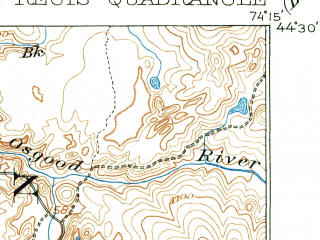 Reduced fragment of topographic map en--usgs--063k--062014--(1905)--N044-30_W074-30--N044-15_W074-15 in area of Middle Saranac Lake, Upper Saint Regis Lake, Wolf Pond