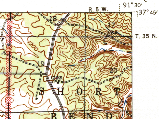 Reduced fragment of topographic map en--usgs--063k--062022--(1945)--N037-45_W091-45--N037-30_W091-30; towns and cities Salem