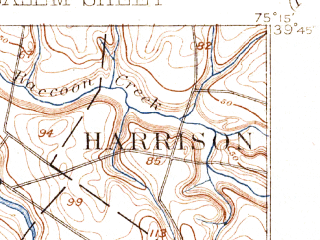 Reduced fragment of topographic map en--usgs--063k--062024--(1898)--N039-45_W075-30--N039-30_W075-15; towns and cities Penns Grove, Salem, Carneys Point, Alloway, Swedesboro