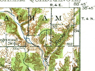 Reduced fragment of topographic map en--usgs--063k--062025--(1938)--N038-45_W089-00--N038-30_W088-45 in area of Forbes Lake; towns and cities Salem, Alma, Iuka