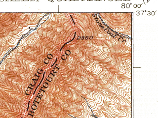 Reduced fragment of topographic map en--usgs--063k--062027--(1932)--N037-30_W080-15--N037-15_W080-00; towns and cities Salem