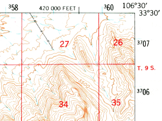 Reduced fragment of topographic map en--usgs--063k--062032--(1948)--N033-30_W106-45--N033-15_W106-30