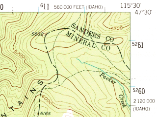 Reduced fragment of topographic map en--usgs--063k--062045--(1956)--N047-30_W115-45--N047-15_W115-30