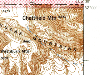 Reduced fragment of topographic map en--usgs--063k--062061--(1943)--N032-00_W105-45--N031-45_W105-30