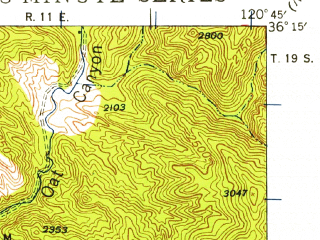 Reduced fragment of topographic map en--usgs--063k--062063--(1941)--N036-15_W121-00--N036-00_W120-45; towns and cities San Ardo