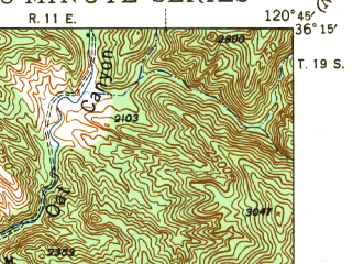Reduced fragment of topographic map en--usgs--063k--062063--(1943)--N036-15_W121-00--N036-00_W120-45; towns and cities San Ardo