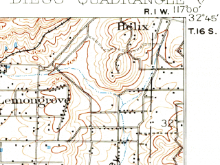 Reduced fragment of topographic map en--usgs--063k--062072--(1930)--N032-45_W117-15--N032-30_W117-00 in area of San Diego Bay; towns and cities Tijuana, Chula Vista, National City, Imperial Beach, Lemon Grove