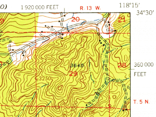 Reduced fragment of topographic map en--usgs--063k--062076--(1940)--N034-30_W118-30--N034-15_W118-15; towns and cities San Fernando