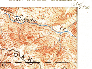 Reduced fragment of topographic map en--usgs--063k--062080--(1897)--N037-30_W122-00--N037-15_W121-45 in area of Calaveras Reservoir; towns and cities San Jose, Milpitas, Santa Clara, Campbell, East Foothills