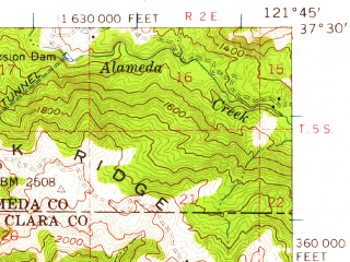 Reduced fragment of topographic map en--usgs--063k--062080--(1953)--N037-30_W122-00--N037-15_W121-45 in area of Calaveras Reservoir; towns and cities San Jose, Santa Clara, Milpitas, Campbell, East Foothills