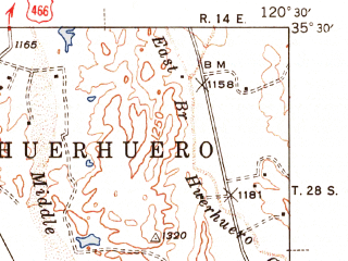 Reduced fragment of topographic map en--usgs--063k--062086--(1942)--N035-30_W120-45--N035-15_W120-30; towns and cities Atascadero, San Luis Obispo, Santa Margarita