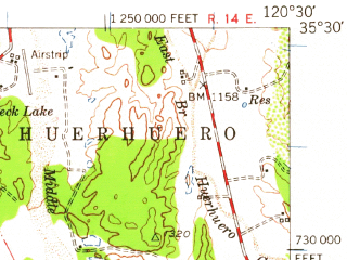 Reduced fragment of topographic map en--usgs--063k--062086--(1952)--N035-30_W120-45--N035-15_W120-30; towns and cities Atascadero, San Luis Obispo, Santa Margarita