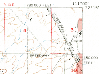 Reduced fragment of topographic map en--usgs--063k--062097--(1957)--N032-15_W111-15--N032-00_W111-00; towns and cities Tucson Estates, Valencia West