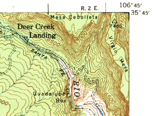 Reduced fragment of topographic map en--usgs--063k--062099--(1943)--N035-45_W107-00--N035-30_W106-45; towns and cities San Ysidro