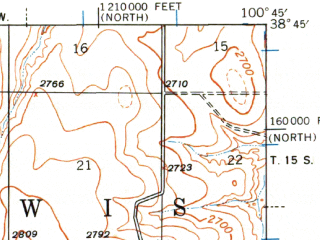Reduced fragment of topographic map en--usgs--063k--062108--(1939)--N038-45_W101-00--N038-30_W100-45