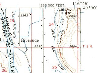 Reduced fragment of topographic map en--usgs--063k--062109--(1957)--N043-30_W117-00--N043-15_W116-45