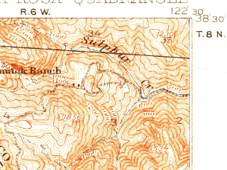 Reduced fragment of topographic map en--usgs--063k--062137--(1916)--N038-30_W122-45--N038-15_W122-30; towns and cities Santa Rosa, Rohnert Park, Cotati, Roseland, Eldridge