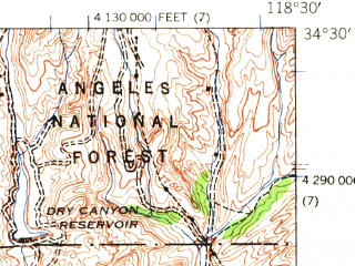 Reduced fragment of topographic map en--usgs--063k--062140--(1941)--N034-30_W118-45--N034-15_W118-30; towns and cities Santa Clarita, Val Verde