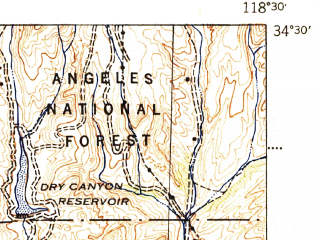 Reduced fragment of topographic map en--usgs--063k--062140--(1943)--N034-30_W118-45--N034-15_W118-30; towns and cities Santa Clarita, Val Verde