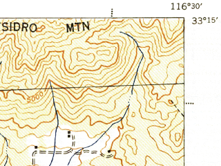 Reduced fragment of topographic map en--usgs--063k--062141--(1943)--N033-15_W116-45--N033-00_W116-30; towns and cities Julian
