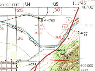 Reduced fragment of topographic map en--usgs--063k--062143--(1951)--N040-00_W112-00--N039-45_W111-45 in area of Mona Reservoir; towns and cities Goshen, Mona, Santaquin