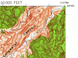 Reduced fragment of topographic map en--usgs--063k--062145--(1942)--N033-45_W117-45--N033-30_W117-30; towns and cities El Toro, Mission Viejo, San Juan Capistrano, Laguna Hills, Laguna Niguel